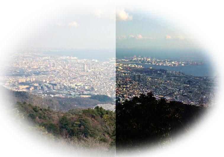 摩耶山(702m)から望む神戸の市街地