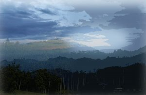 六甲山の山並みと周東町の山並