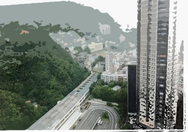 新神戸駅前、駅橋の下に布引渓谷の入口がある